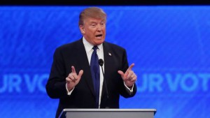 Donald Trump participates in the Republican debate Donald Trump participates in the Republican debate at St. Anselm College on Feb. 6, 2016, in Manchester,